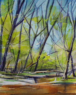 A watercolor painting of Ellicott Creek in early spring, at Amherst State Park