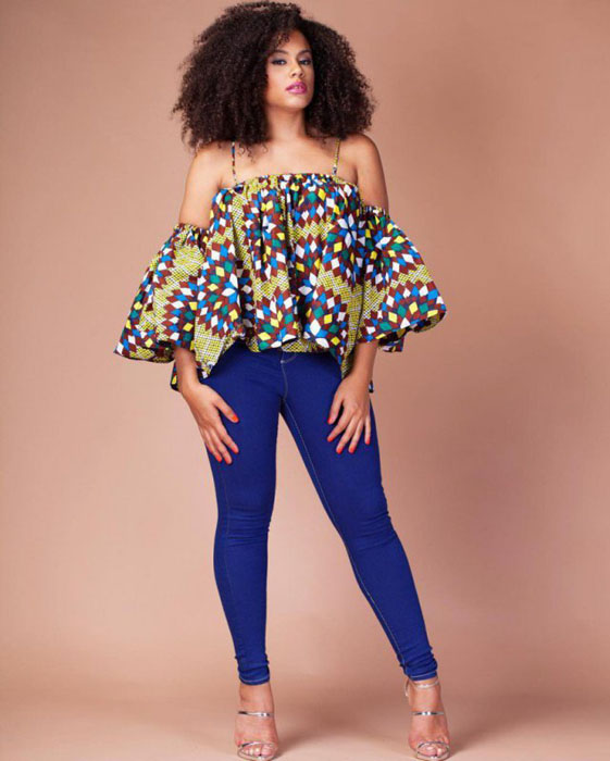 ankara off shoulder and jeans