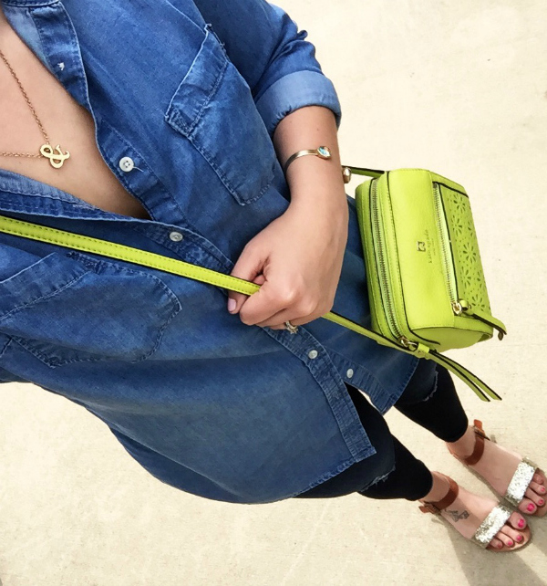 how to wear denim on denim, kate spade purse
