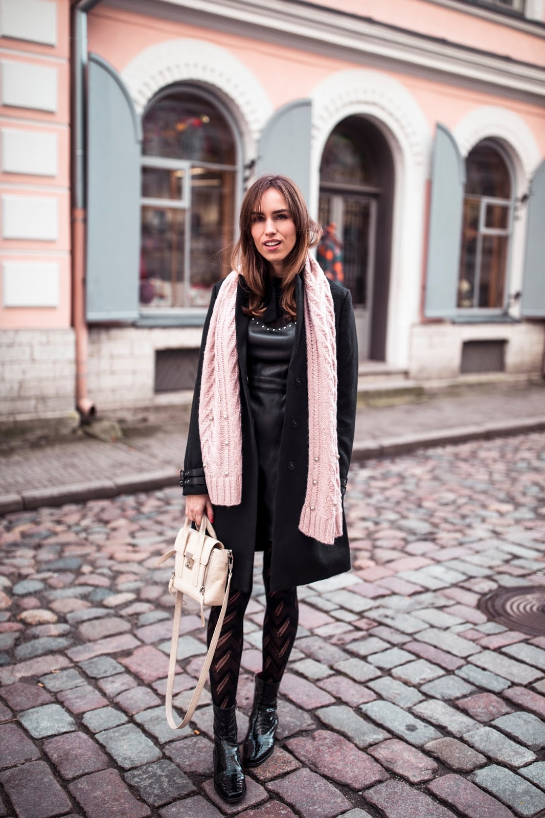 black coat dress pink scarf fall outfit