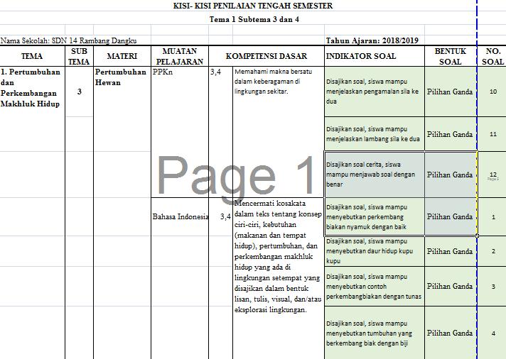 Kisi Kisi Soal K13 Pts Kelas 3 Tahun 2018 Lengkap Info Gtk