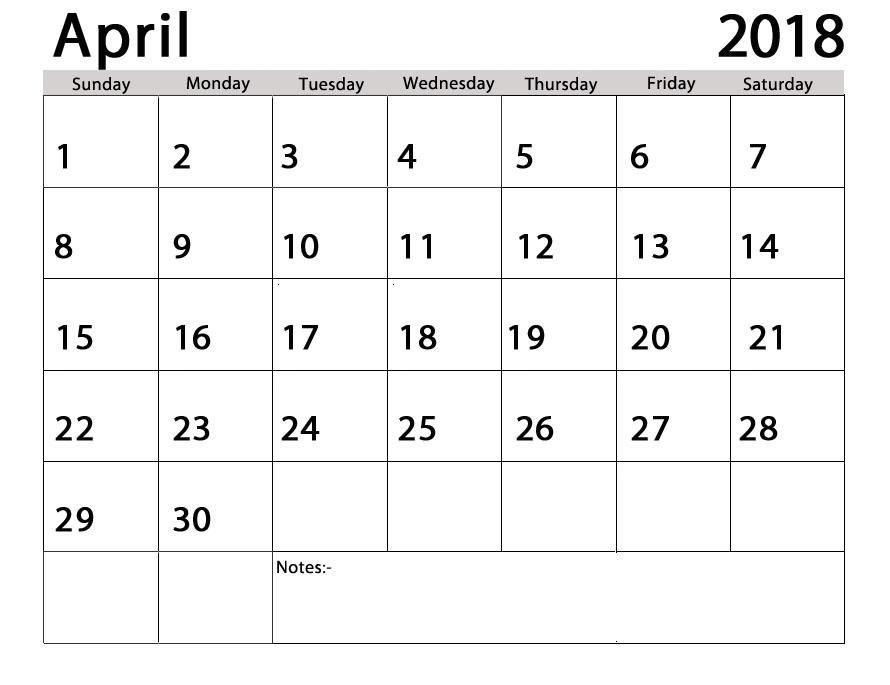 Free Printable Calendar 2018: Free Printable Calendar April