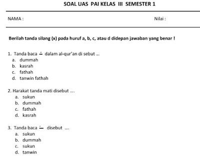 Soal UAS PAI Kelas 3 Semester 1 / Ganjil