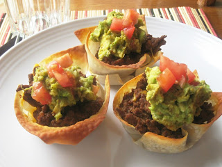 taco cups on a plate