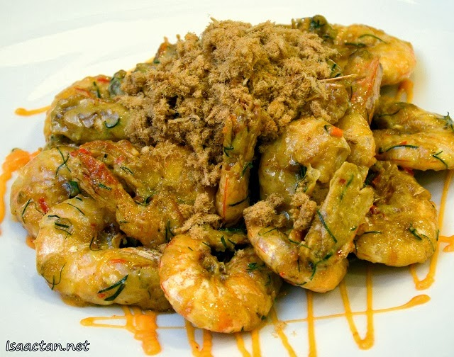 Butter Prawns with Chicken Floss