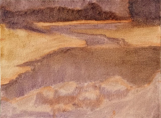 Cool and Crisp 2 landscape oil painting study - block in ultramarine violet and transparent oxide yellow