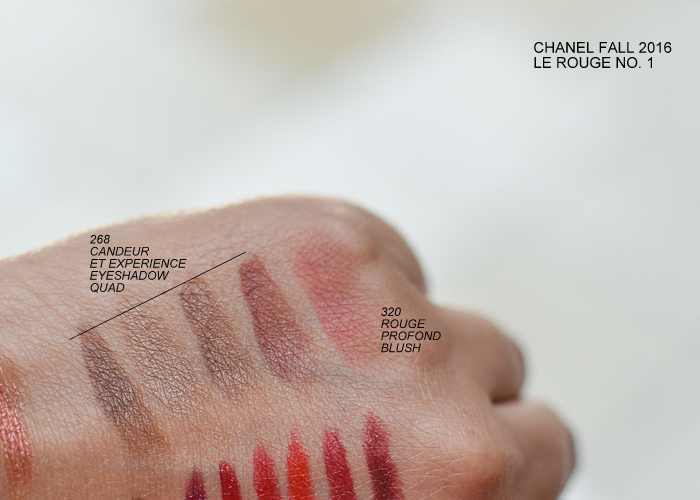 Chanel Fall 2016 Le Rouge No 1 Makeup Collection Swatches Les 4 Ombres Candeur Et Experience Eyeshadow Quad Joues Contraste Blush Rouge Profond 320