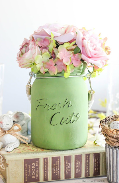 Painted mason jar centerpiece