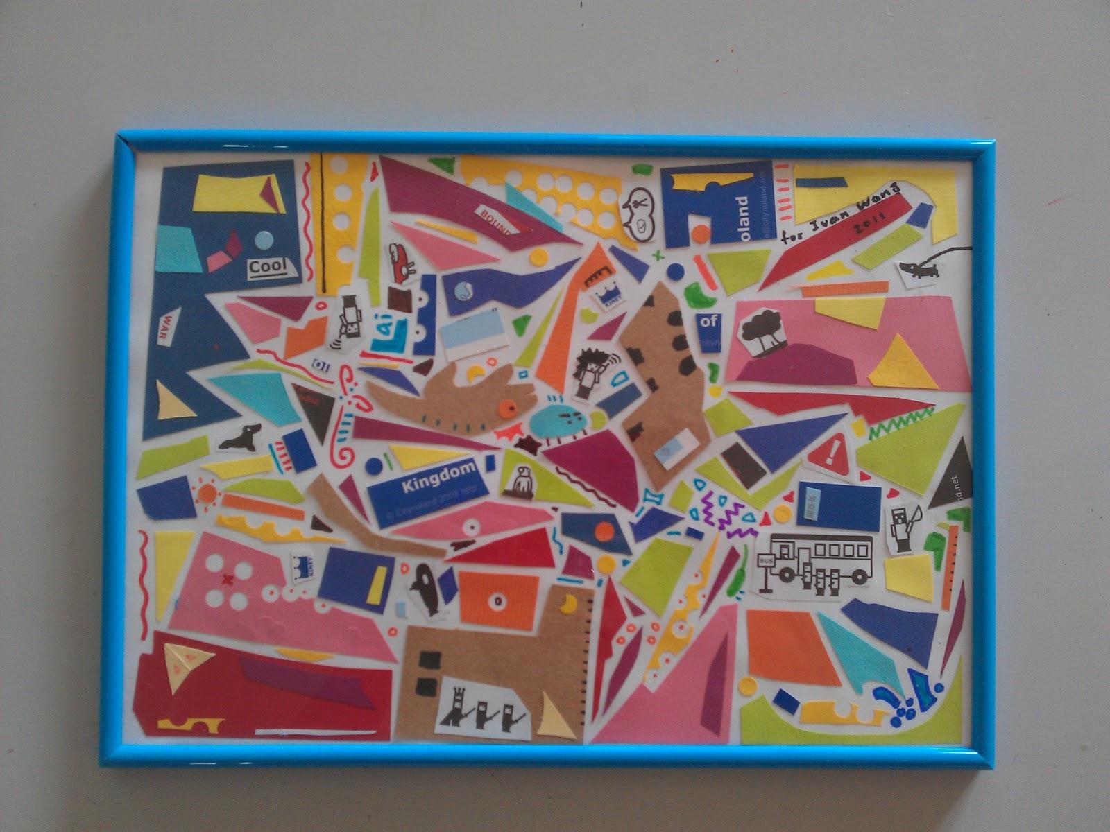 西提王國當代藝術教室-臺中兒童美術班: 10/22學生作品:幾何抽象剪貼