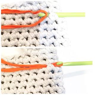 Guild by P.O.D. Tシャツヤーンのバッグ編み図 飾りラインの付け方