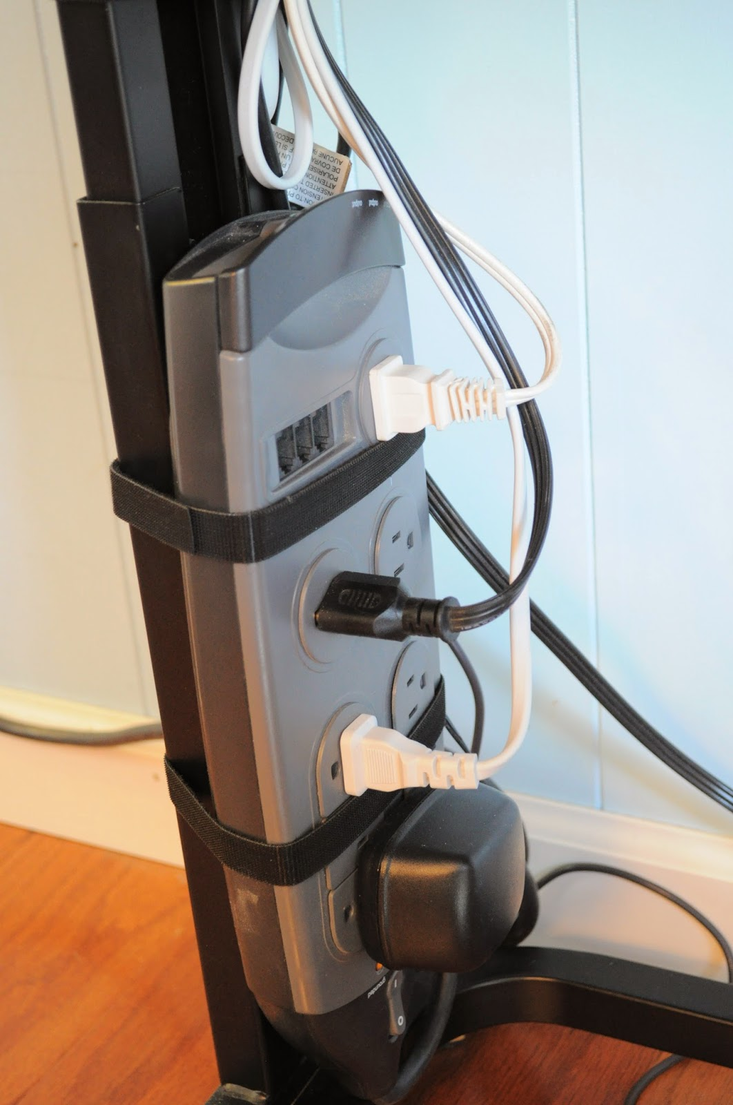 Keep cords organized and neat with velcro :: OrganizingMadeFun.com