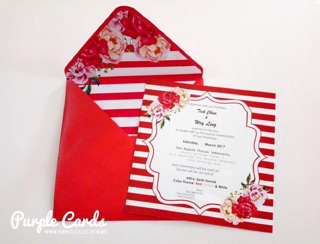 red stripes wedding card malaysia, the royale chulan damansara, printing, cetak, kad kahwin, envelope liner, personalized, personalised, penang, perak, ipoh, bentong, pahang, kuantan, seremban, nilai, melaka, muar, johor bahru, singapore, kedah, kelantan, sabah, sarawak, kuching, kota kinabalu, miri, bintulu, sandakan, australia, nsw, sydney, melbourne, vancouver, canada, ontario, new york, usa, chinese wedding, peonies, peony, flower, floral, handmade, hand crafted, one of its kind, special, elegant, pearl