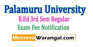 Palamuru University B.Ed 3rd Sem Regular Exam Fee Notification 2017