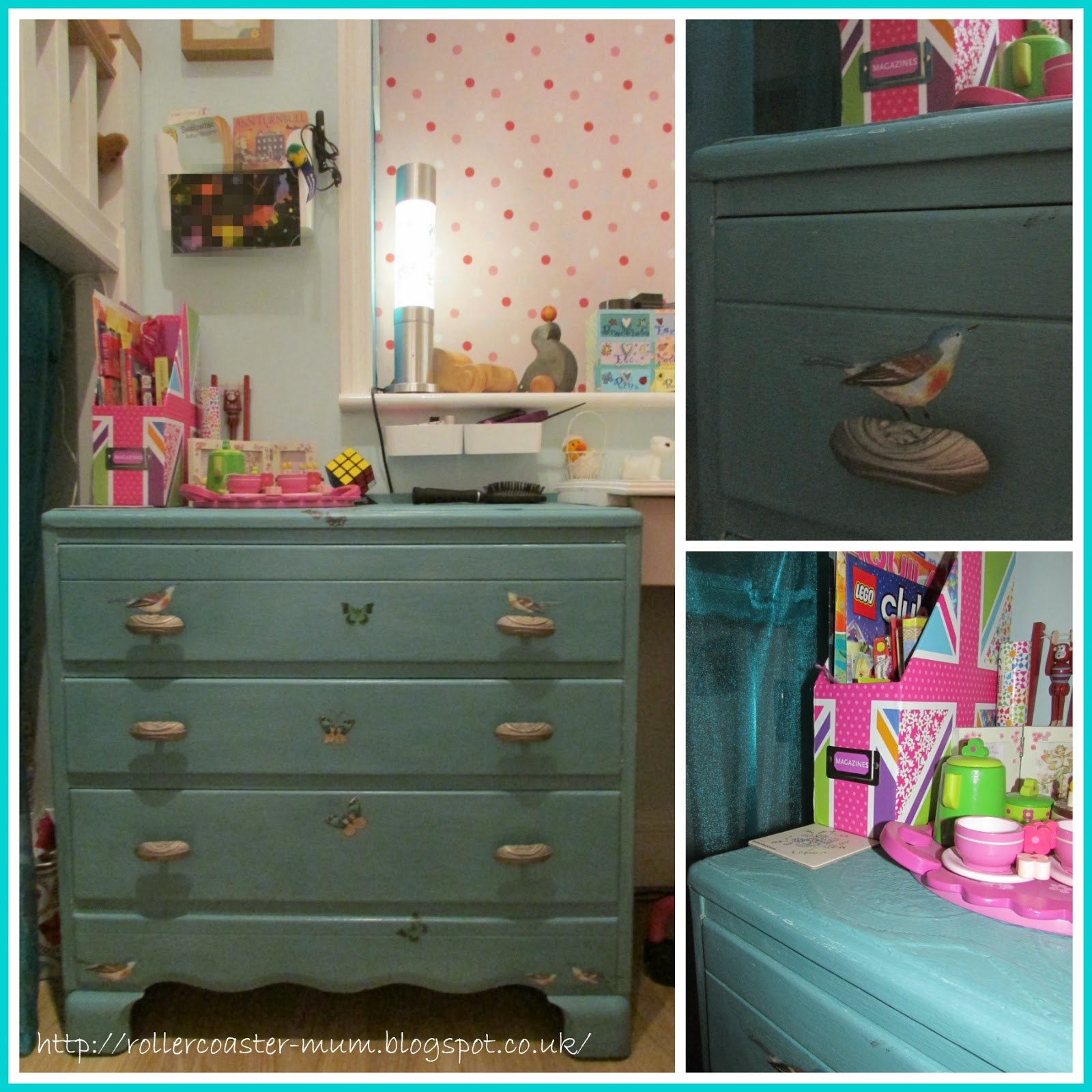 Lebus chest of drawers in turquoise shabby chic style
