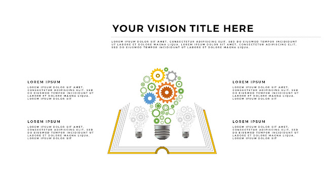 Free Infographic Books and Vision PowerPoint Template with Light Bulbs