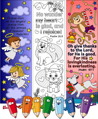 xmas coloring bookmarks