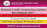 National Textile Corporation Recruitment 2017–40 Clerical Staff & Security Supervisors