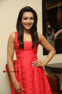 Actress Catherine Tresa Latest Pos in Red Short Dress at Intex Air Conditioners Launch  0016.jpg