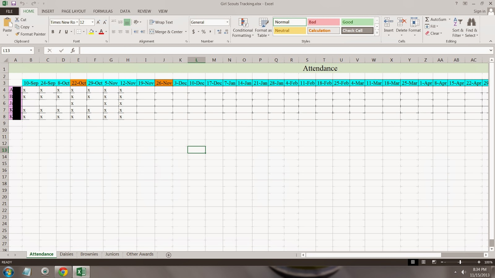 Thrifty Momma Tracking Spreadsheet For Girl Scouts