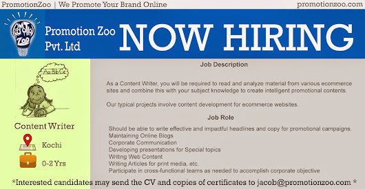 Promotion Zoo - Content Writer Job opening         |          Dream Job Opening