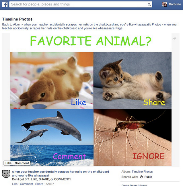 Exemple de post spammy faisant du Like-baiting sur Facebook