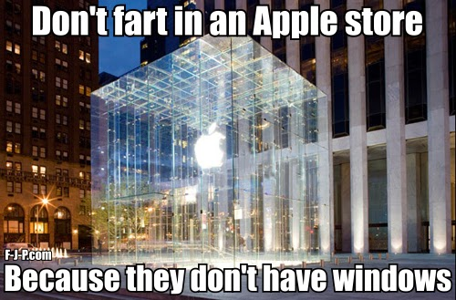 Funny Pun Don't fart in an Apple store because they don't have Windows joke meme picture