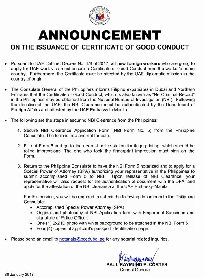How to Secure Certificate of Good Conduct for Filipinos Required to ...