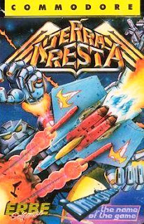 Portada del casete de Terra Cresta para Commodore 64, Imagine, 1986