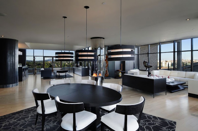 Picture of black and white penthouse interior as seen from the dining room