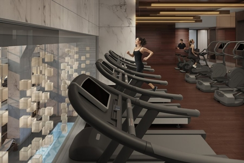 Rendering of gym at One 57 by Christian de Portzamparc showing woman running