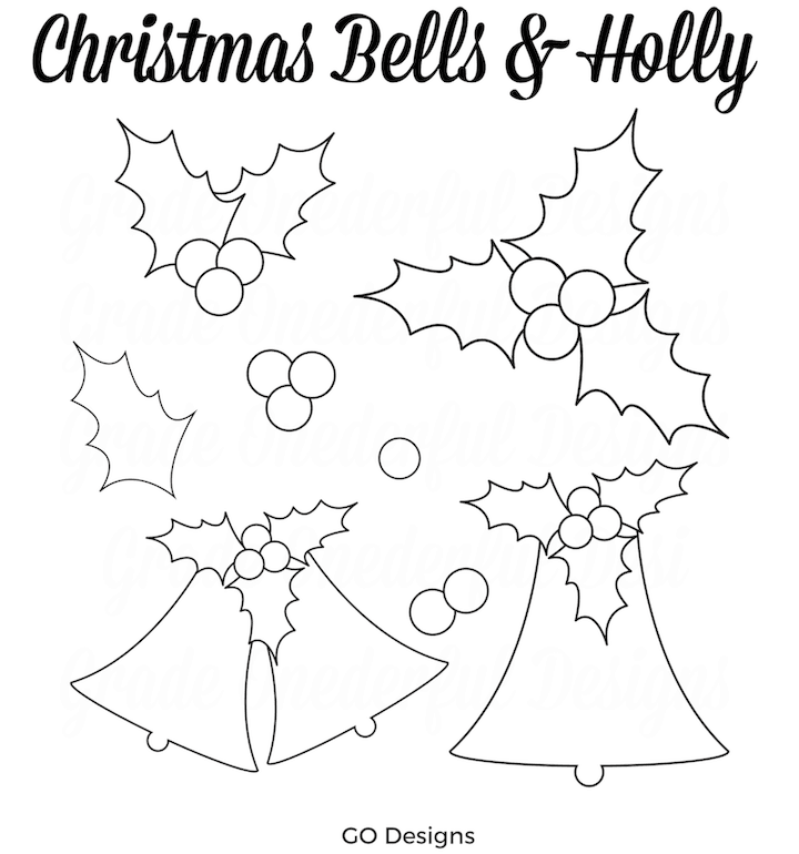 Christmas Bells and Holly Clipart in blue, green, pink and gold. GradeONEderfulDesigns.com