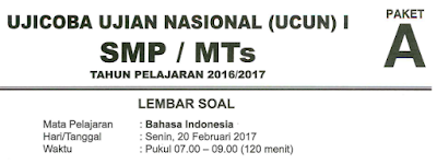 Soal Try Out Bahasa Indonesia SMP 2017/2018