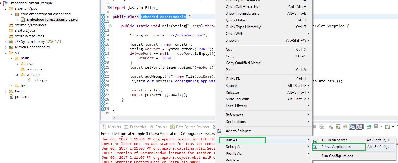 Create a java web application using embedded tomcat