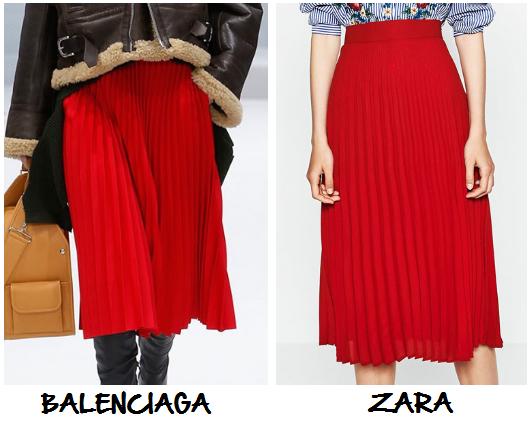 clones 2016 falda plisada roja Balenciaga Zara.
