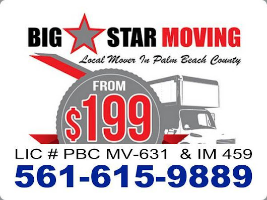Palm Beach moving companies from $199, call 561-615-9889.