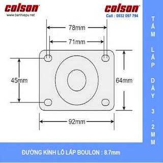 Bảng vẽ kích thước tấm lắp bánh xe giường bệnh cao su chịu tải trọng 100kg | STO-6856-448