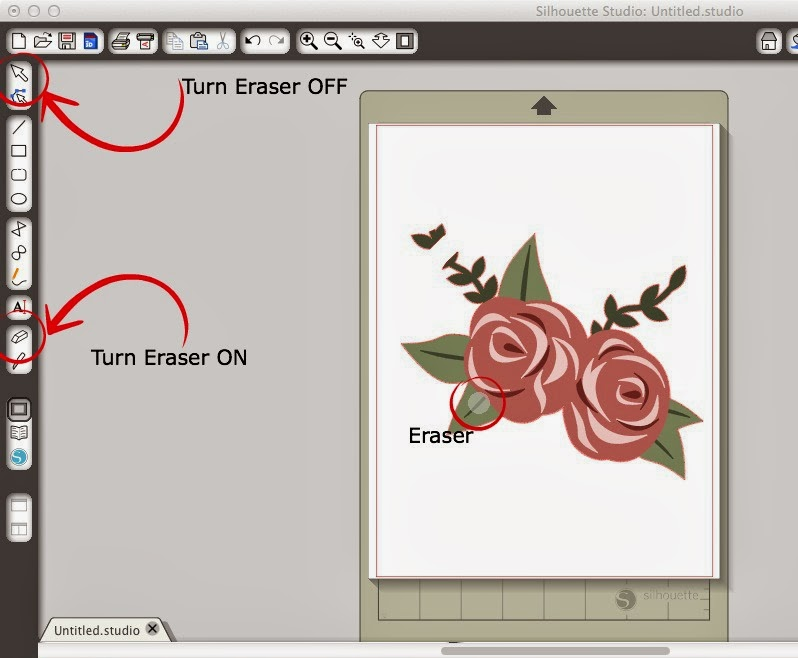 Eraser, knife, tool, turn off, Silhouette Studio, Silhouette tutorial