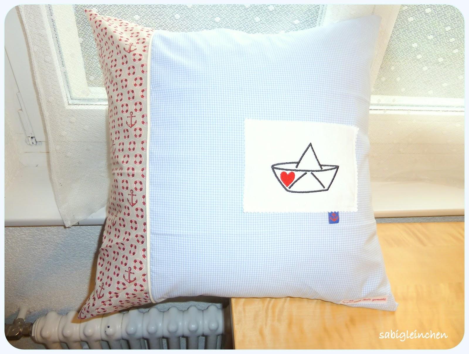 sabi 39 s werkstatt maritimes kissen f r einen segler. Black Bedroom Furniture Sets. Home Design Ideas