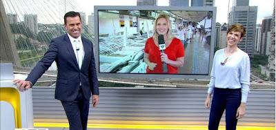 Rodrigo Bocardi, Solange Freitas e Gloria Vanique no Bom Dia SP desta quarta-feira (17); repórter brinca ao vivo