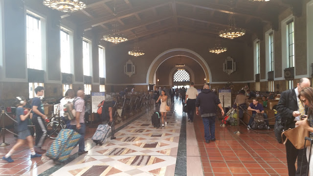 Union Station busy with people.