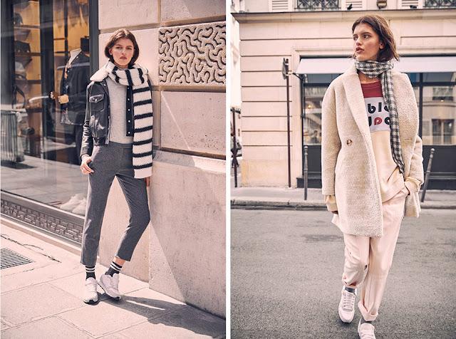 Девушки в куртке и пальто с шарфом в полоску и в клетку