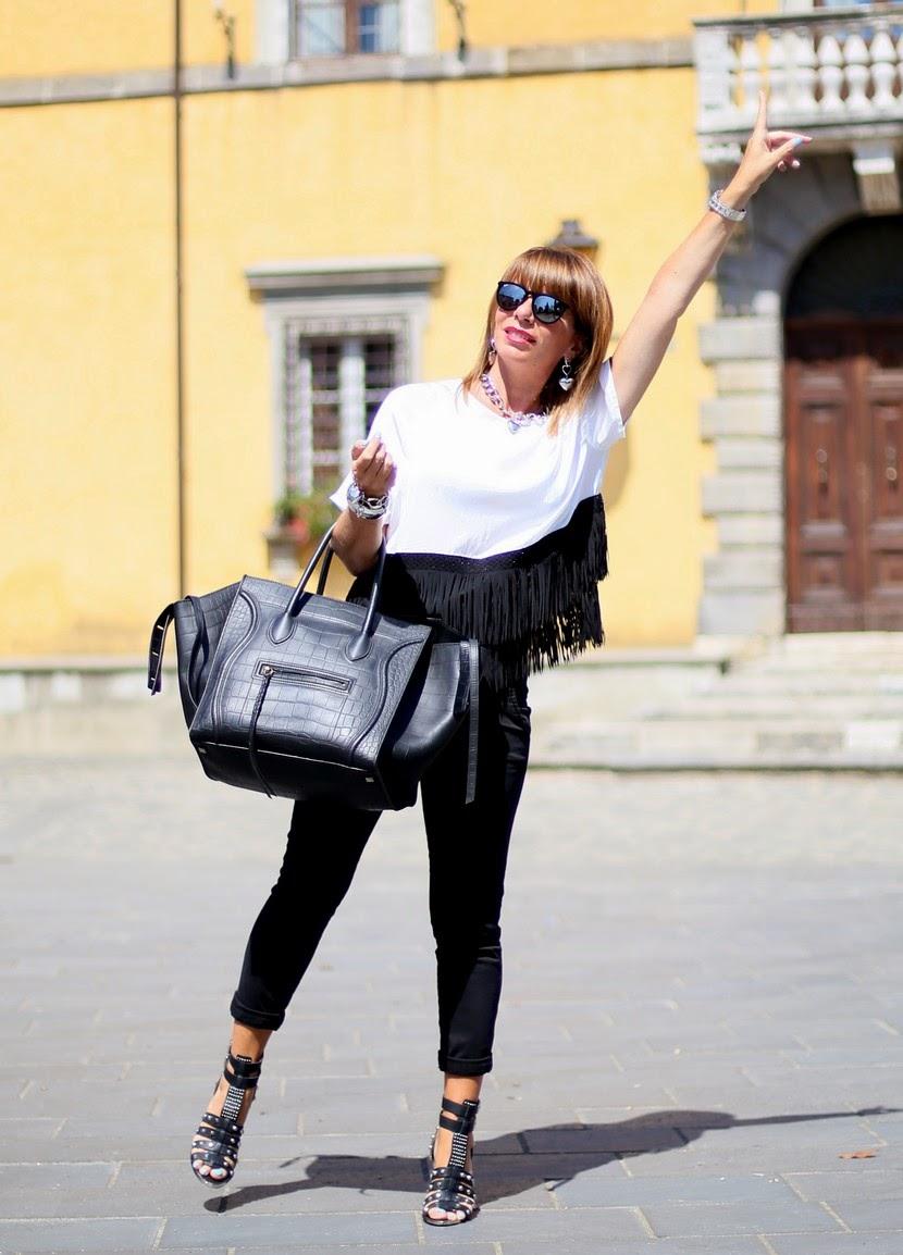 top H&M con frange bianco e nero