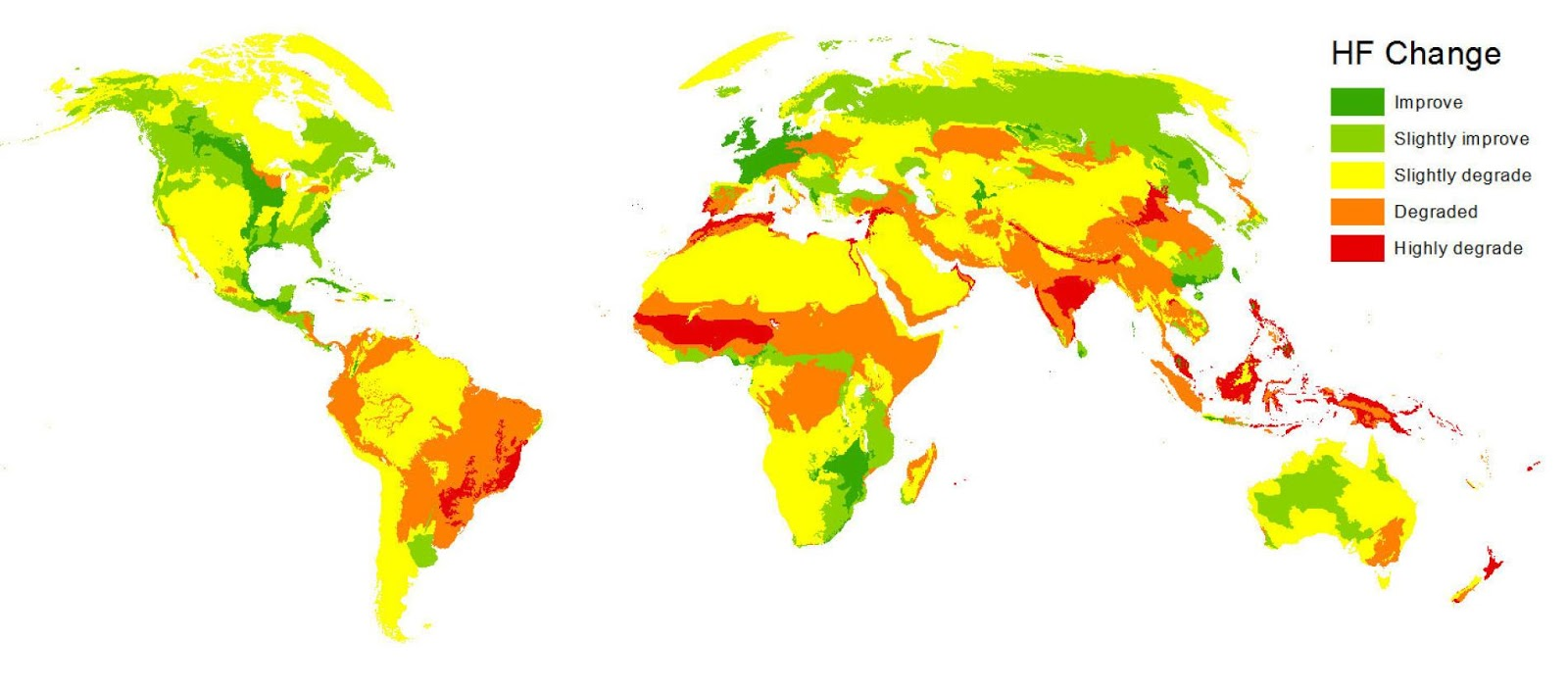 This map shows where humans' impact on the environment increased or decreased from 1993 to 2009.