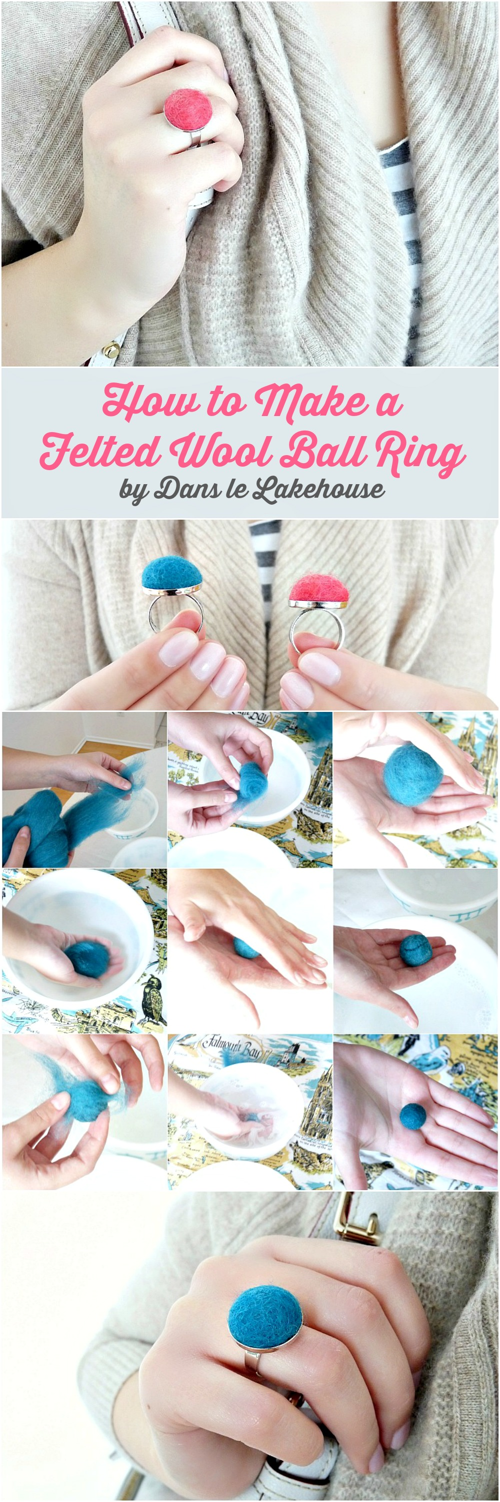 How to make felted wool ball rings - Great tutorial and tons of other project ideas for felted balls