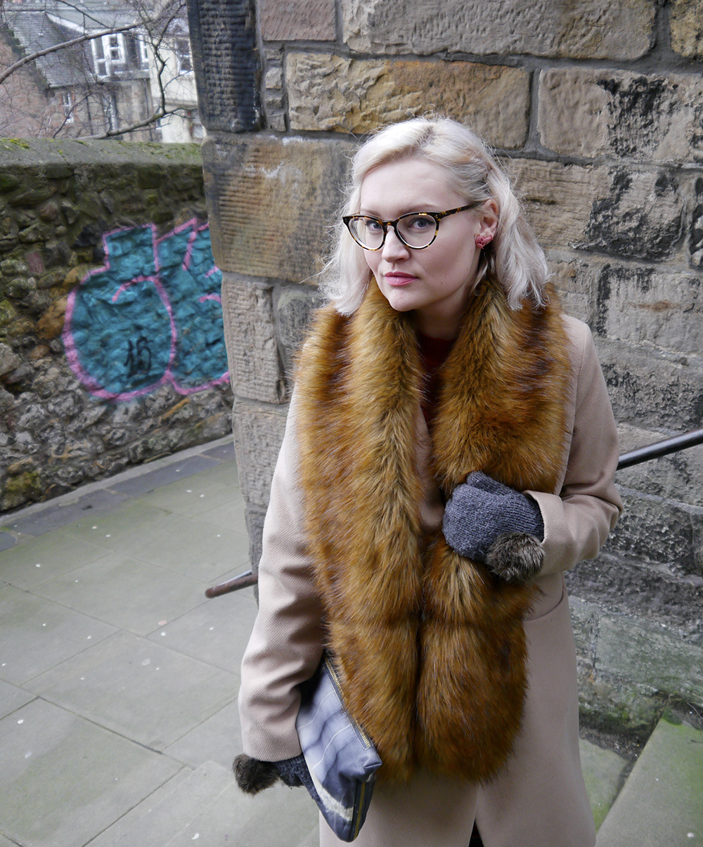 Oversized faux fur scarf trend as worn in Edinburgh by Scottish vintage fashion blogger Kimberley Wardrobe Conversations