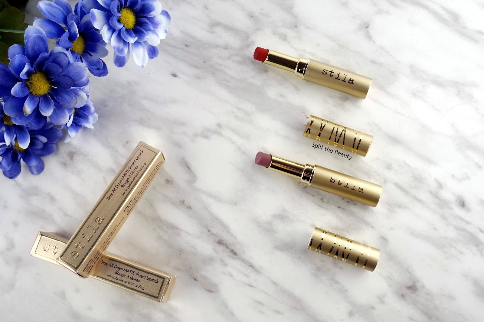 Stila Stay All Day MATTE'ificent Lipstick in 'Brûlée', and 'Bisou' – Review, Swatches, and Look