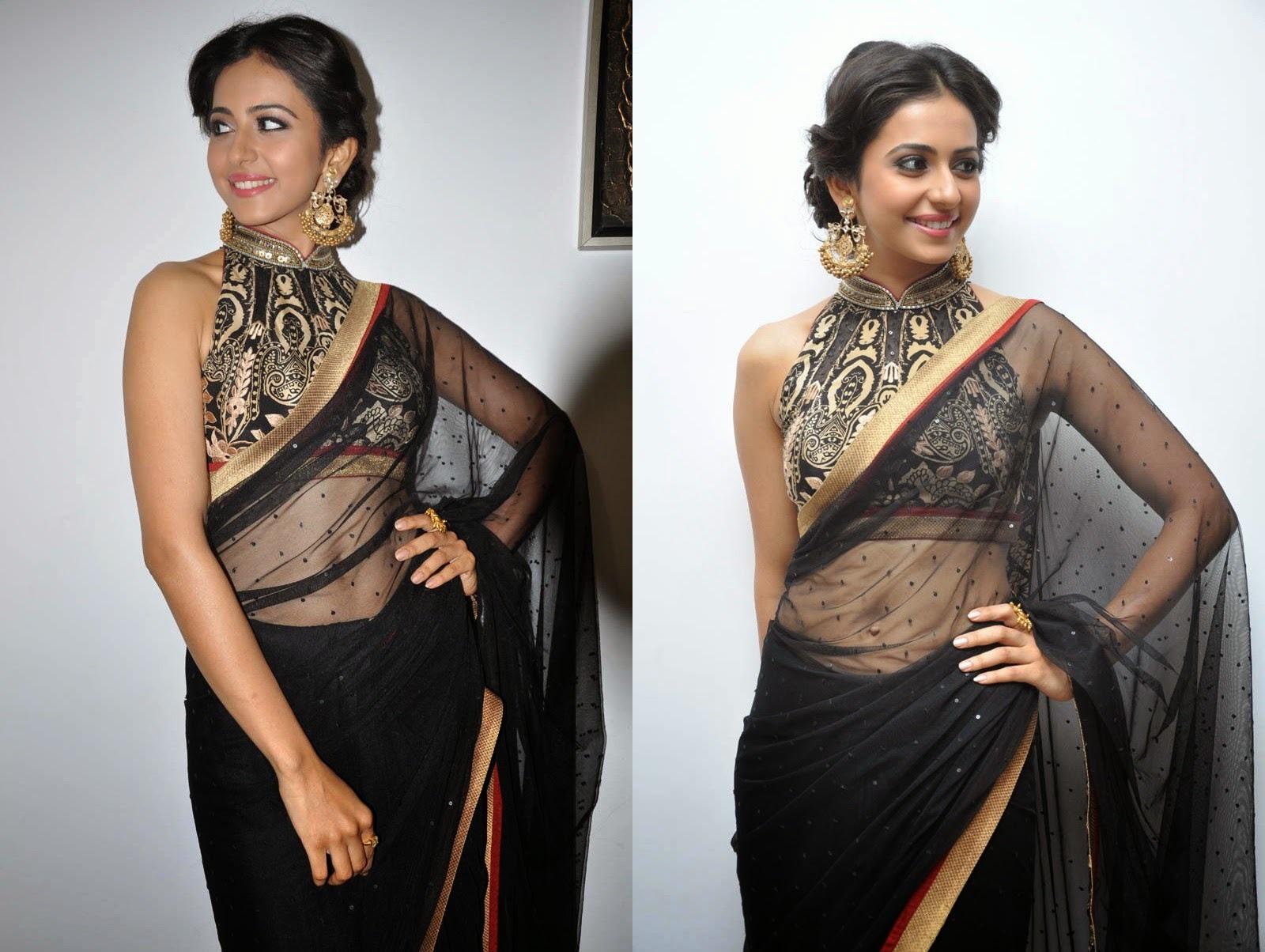 Rakul Preet Singh Hot Black Transparent Saree Photos