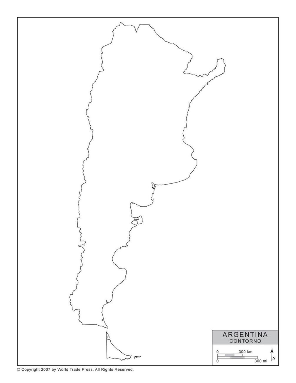 Mapa da Argentina com Contorno