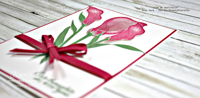 Make a gorgeous card like this easily with the classic Lasting Lily stamp set. You can get it for free with a qualifying order. Click through to my web site to find out how.