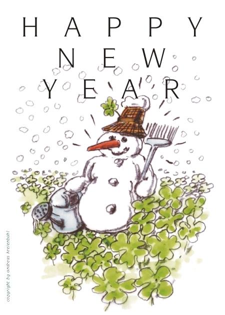 An Neujahr steht der Schneemann im Klee